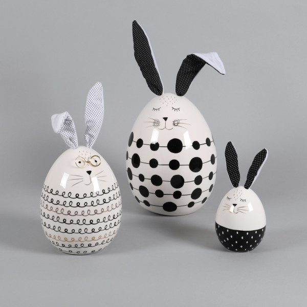 Keramik Hase Ei-förmig mit Stoff-Ohren