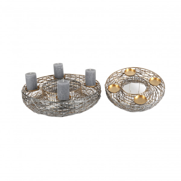 Kranz mit Kerzentüllen Agios , Metall, geöffnet