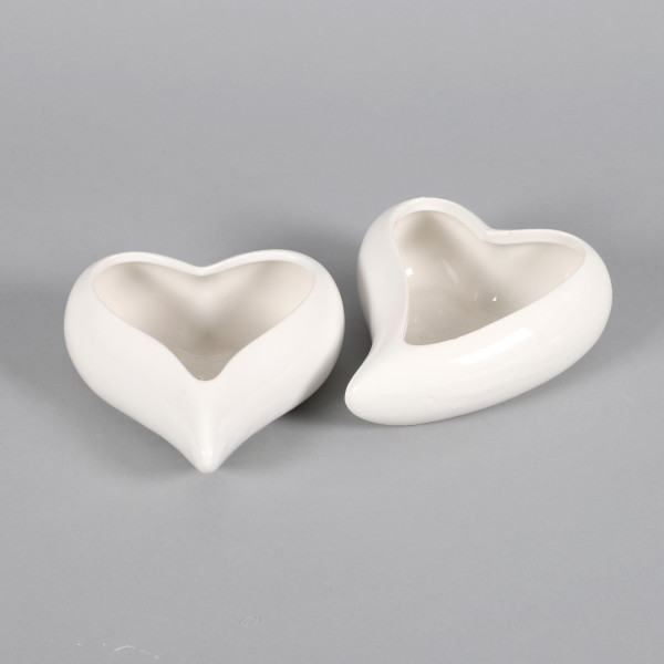Herz Doppiamente Keramik, 2 Modelle 14x13,5x6 15x13x6 cm weiss
