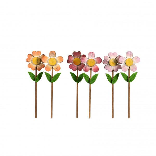 Stecker Blume Holz, 2 Mod. 8x26 cm