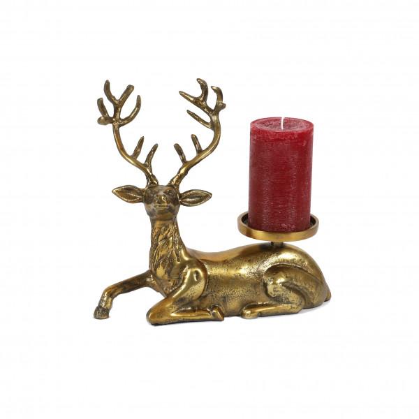 Hirsch, Aluguss, liegend, 31x10x29 cm mit Kerzenhalter, antikgold