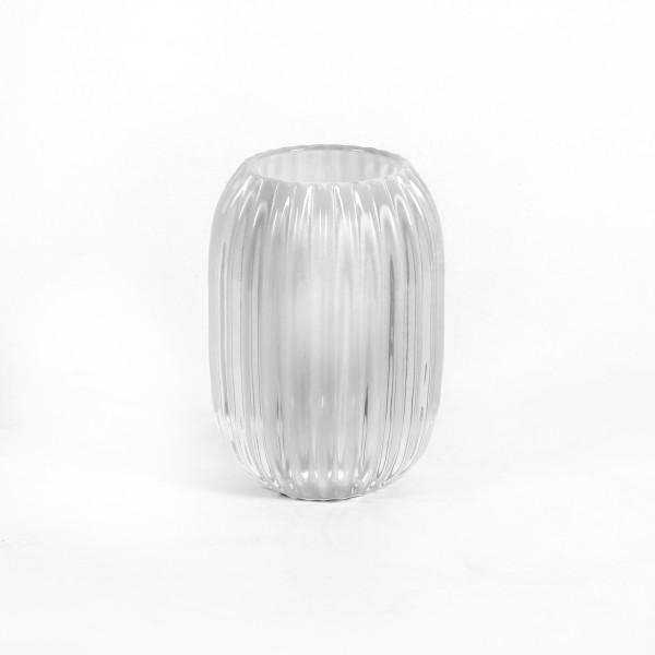 Teelichtglas Trendy 9,4x9,4x13 cm weiß