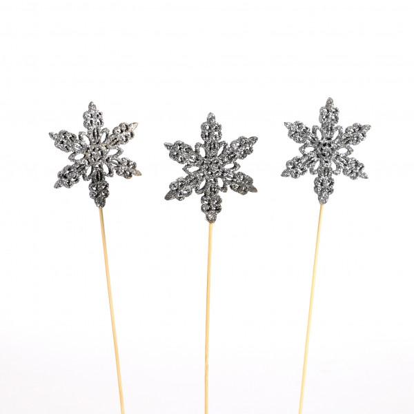 Schneeflocke Eiskristall am Stecker 8stk Lasercut, Holz, silber, D8cm, GL32cm