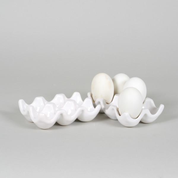 Keramik Tablet für 6 Eier, 15x 10cm,weiß-glasiert