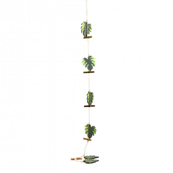 Blattgirlande Monstera Holz, dkl grün 110x7 cm