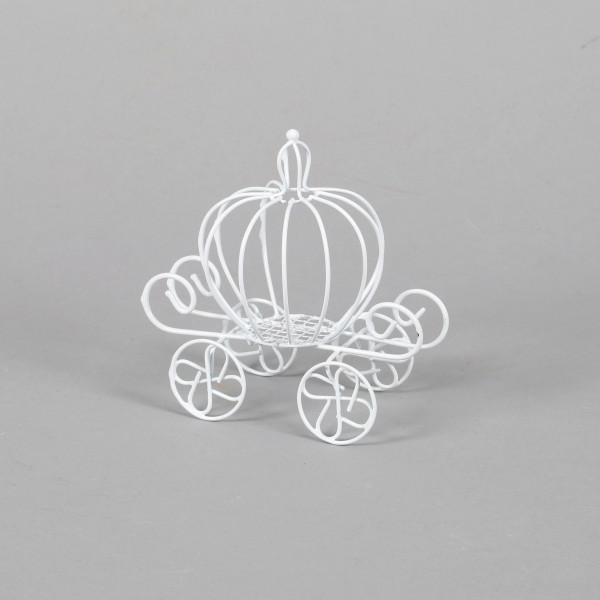 Kutsche Cinderella aus Draht w eiß L13 cm H 12 cm