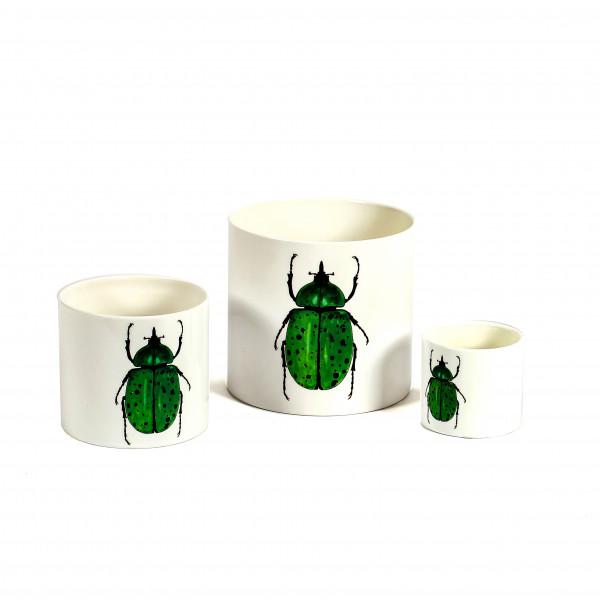 Keramik-Zylindertopf, grüner Skarabäus- Käfer, weiß glasiert
