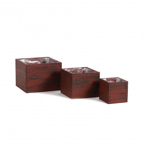 Holzkasten quadratisch, rot-schwarz