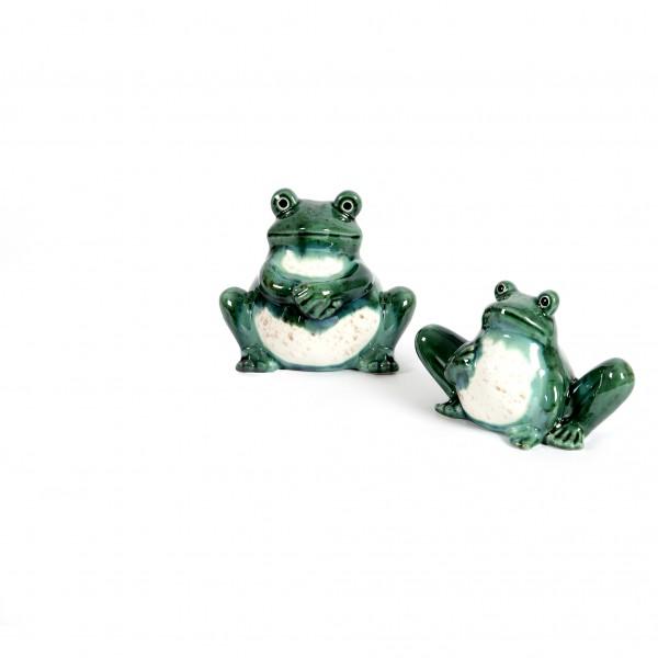 Keramik Frosch Frederik sitzend, 2Mod. sort.,grün/weiß glasiert,12x7x8cm