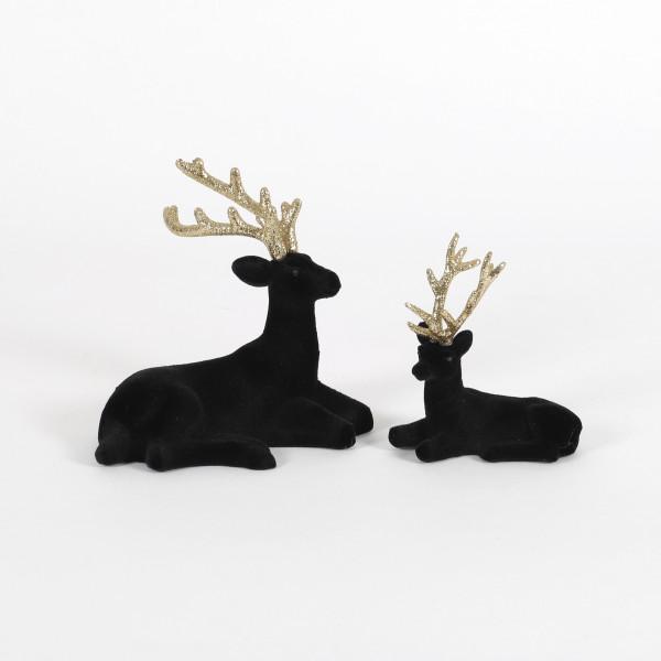 Hirsch sitzend Glamour Kunststoff,befloc