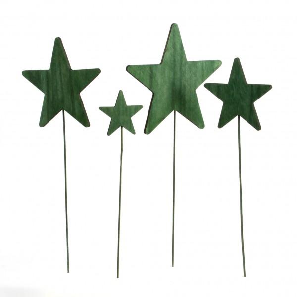 Sternstecker, Holz, 16x45 cm dk grün