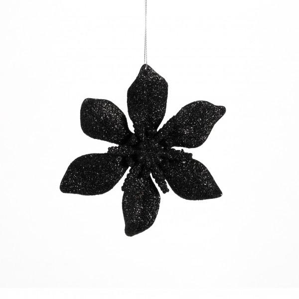 Ponsetie Glitter Kunststoff, 15 cm schwarz