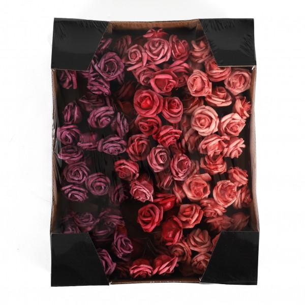 Rose am Draht,Foam,25mm,dk.rot -rot, Box/120 St.