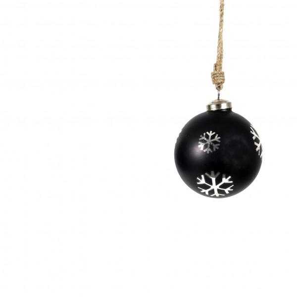 Baumkugel Nemea Glas 10 cm, schwarz-silber