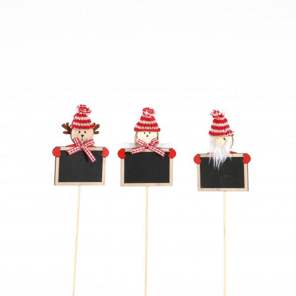 Holz-Stecker,Kreide-Tafel mit Weihnachts -Figur, 3 Mod sort. L35cm