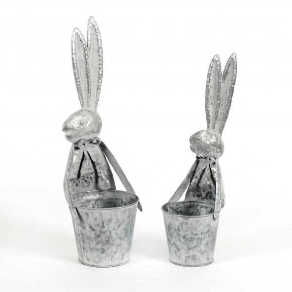 Zinktopf Hase, Metall, weiss antik