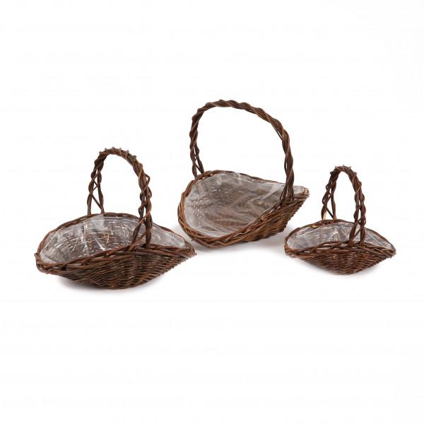 Weiden Korb Oval mit Bügel, Set/3 natur,41x29xh7/35x23xh6/28x17xh5