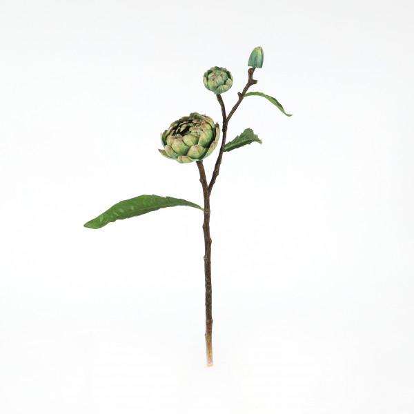 Artischocke, 68 cm, natur-grün 2 Blüten, 1 Knospe mit Laub