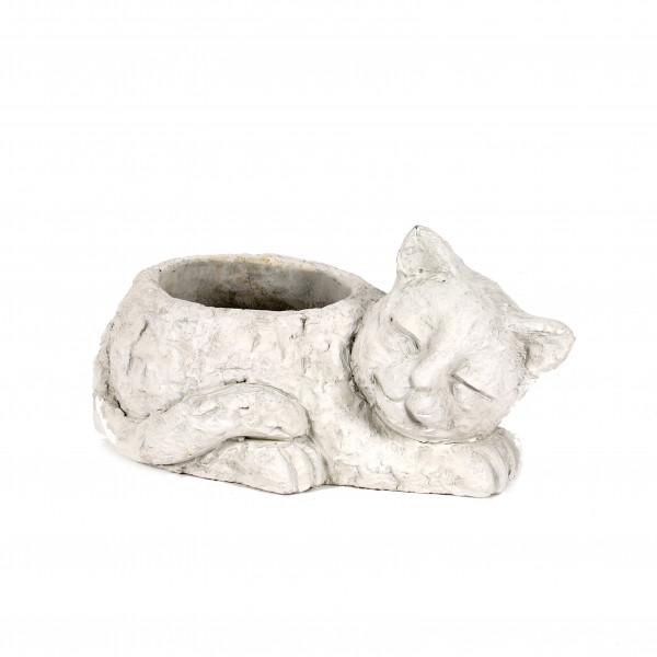 Zement Pflanz-Katze Schnurri 25x15xh13cm, weiß-antik