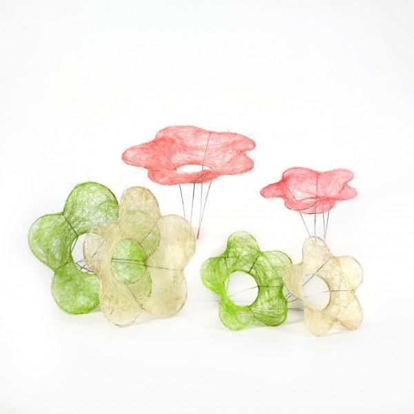 Sisal-Bindehilfe flower 15 cm,weiß/rosa/grün sortiert