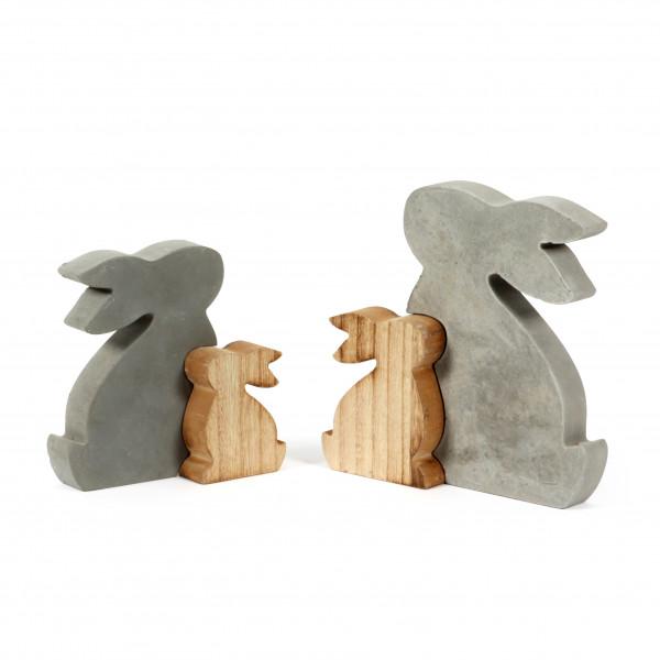 Hasenpaar, Beton-Holz