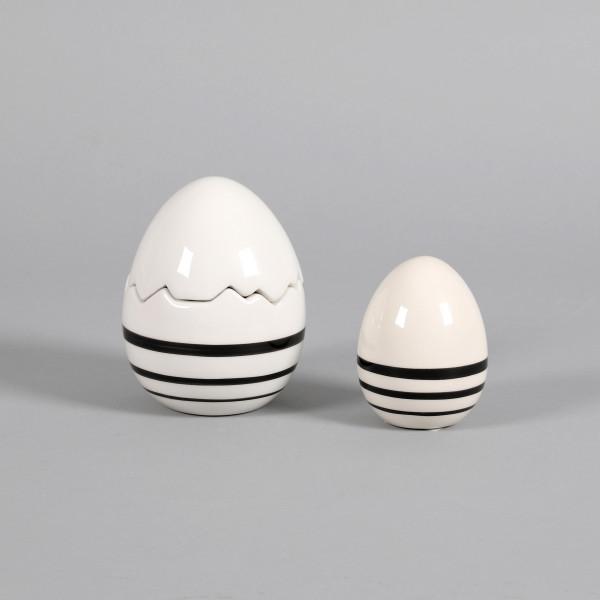 Keramik Ei schwarz/weiß