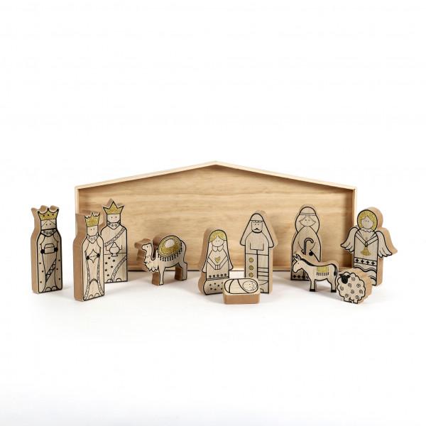 Krippe Bethlehem Holz, natur 50x2,5x50 cm