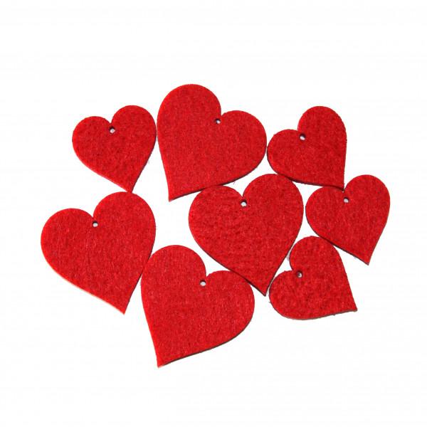 Filzsortiment Hearts, 2Gr.sort ., Btl/48 Stk