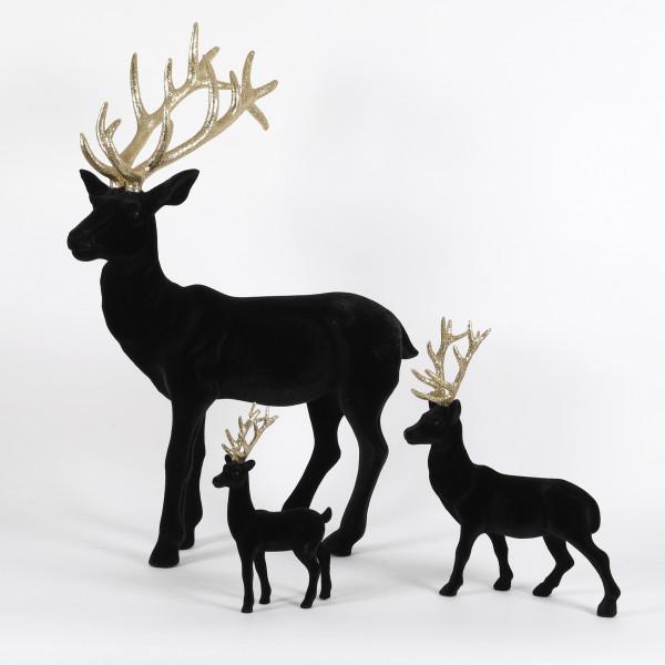 Hirsch Glamour Kunststoff, beflockt, schwarz mit goldenem Geweih