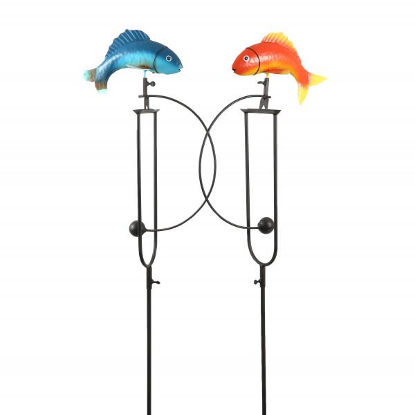 Gartenstecker Fisch-Wippe Metall, bunt 2fb sort., 26x13x130