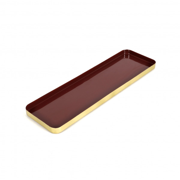 Tray Aigai Metall,Burgund-Messing, 50x15x2,5 cm