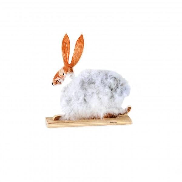 Hase Plüsch, Holz, weiß 21x5x23,5 cm