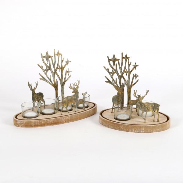 Waldszene Teelichthalter, Holz Metall