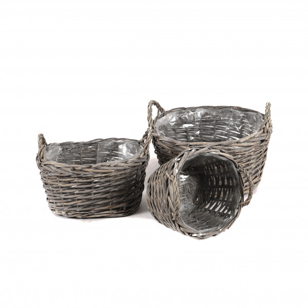 Weiden Korb oval mit 2 Griffen, Set/3 grau-antik,37x31xh22/31x26xh19/25x21xh16