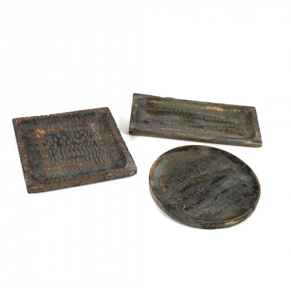 Teller Milet grau antik Holz