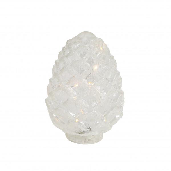 LED Zapfen, stehend, weiss gefrostet 16x23 cm, Glas, Batterie m Timer 6/18h