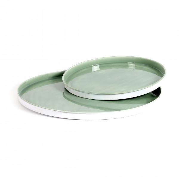 Teller Limoges Metall,Emaillelack, grün