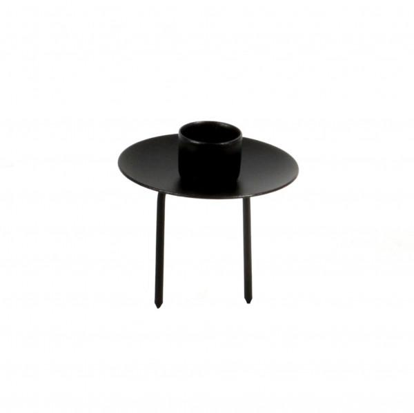 Kerzenteller für Spitzkerzen, Metall, schwarz 7,2 cm