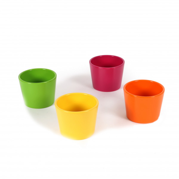 Primeltöpfe11cm,Netto Aktionspreis,glanz 4 farb sort, grün/gelb/orange/cyclame