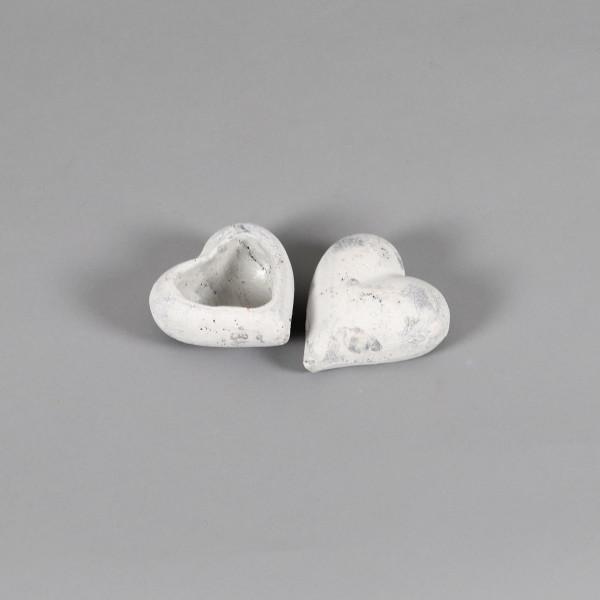 Keramik,Pflanz oder Deko Herz 12x11cm: weiß