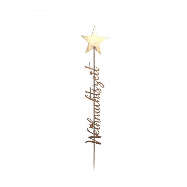 Metall-Stecker Weihnachtszeit mit Stern gold, 10,1x0,5x58,3cm
