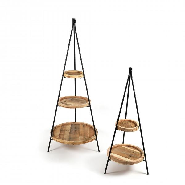 Metall-Etagere mit 3 runden Holz- Tellern in natur, 57xh158 cm