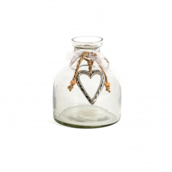Vase Lyon Glas, klar mit Aluherz bauchig, 13x11x11 cm