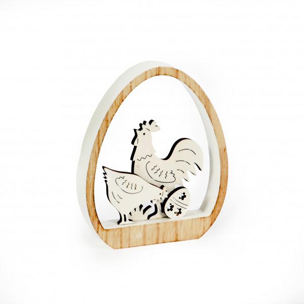 Dekoei mit Hahn,Holz, natur-we iss, 12x15x2 cm