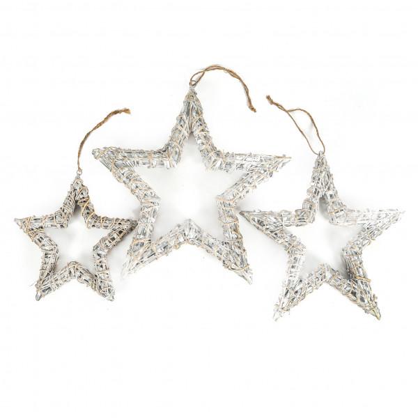 Weiden-Stern offen, grau-weiß antik mit Jutehänger