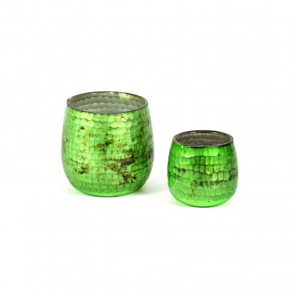 Windlicht Schliff Glas mit Schliff,grün