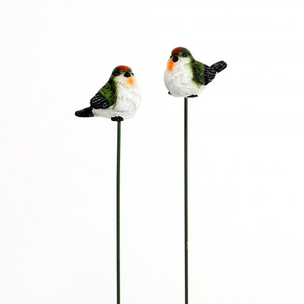 Poly-Vogel am Stab. 2 Mod.sort. grün/weiß/schwarz, 4.5x2.5x4 cm