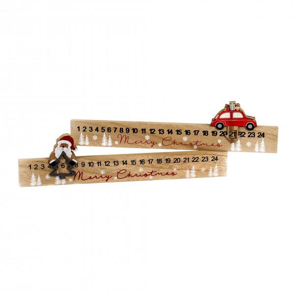 Adventskalender, Holz, 2 Modelle Auto/Santa, natur rot, 40x2x10 cm