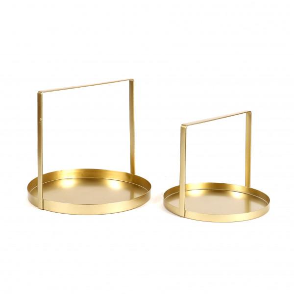 Metall Tablett rund mit Henkel, gold