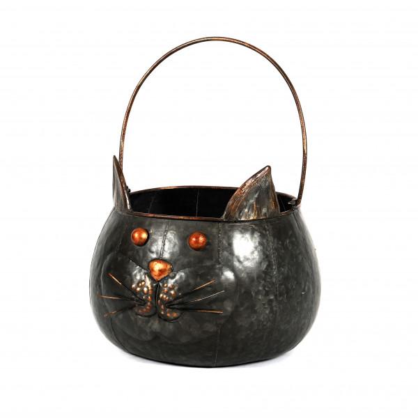 Zink Pflanz-Katze rund mit Henkel, 26xh17 cm